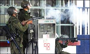Israeli soldiers fire teargas in Bethlehem