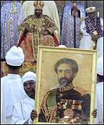 Haile Selassie's portrait during his funeral procession
