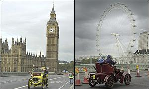 Vintage cars on Westminster Bridge by the Houses of Parliament (left) and the London Eye