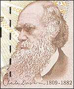 Charles Darwin on the � note