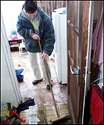 Janet Dunne starts to clean up her  home in Arklow, Co. Wicklow
