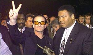 Bono and Muhammad Ali at the Brit Awards in London, 1999