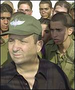Ehud Barak at the Israeli Lebanon border