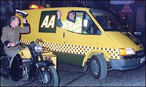 AA roadside assistance vehicles, old and new