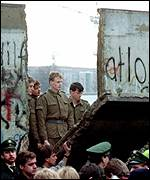 East German border guards as the Wall came down