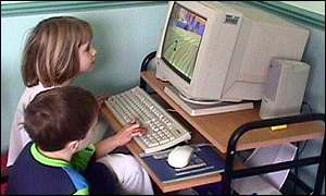 children using pc at home