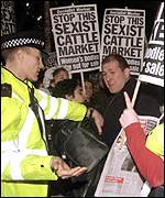 Demonstration outside Miss World 1999 in London