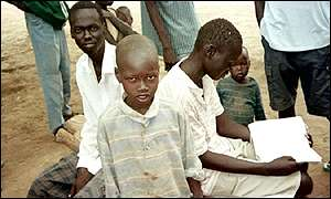 Sudanese boys at Kakuma refugee camp in Kenya