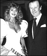 Eric Morley and 1988 Miss France Claudia Frittolini