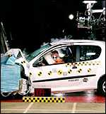 Crash test dummy, accident, via the BBC.