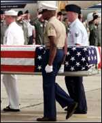 Ceremony in 1999 to repatriate remains of US servicemen