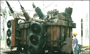 Transformer substation at Nis damaged by Nato bombing