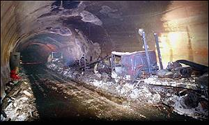 Gutted wreckage of vehicles inside Mont Blanc tunnel