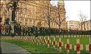 Veterans gathered at the cenotaph in Belfast