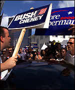 Supporters of Al Gore and George W Bush clash in the street in Florida