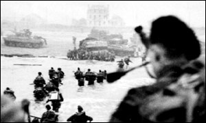 D Day landings in Normandy at the end of World War II