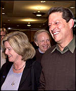 Al Gore leaves cinema with wife Tipper and running mate Joseph Lieberman