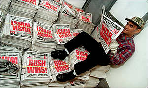 Newspapers declare Bush victory