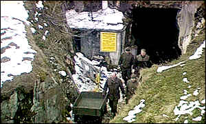 Austrian army soldiers at the tunnel