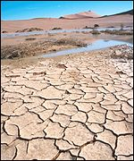 Parched ground during drought in Namibia