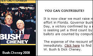 George W Bush's campaign website