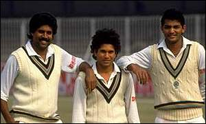 Kapil Dev, Sachin Tendulkar and Mohammed Azharuddin in 1989