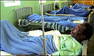 Patients in a hospital emergency ward
