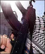 Palestinian militiaman brandishes AK-47 assault rifle
