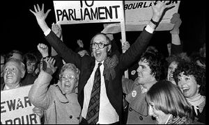 Donald Dewar celebrates in 1978
