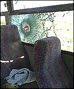 Shrapnel damage to bus
