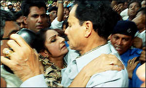 General Ershad embraces wife