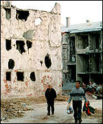Bullet and shell-ridden buildings in Sarajevo