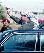 Arafat's triumphant return to Gaza in 1994