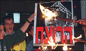 Right-wing Israelis burning a portrait of Yasser Afafat