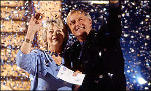 Judith Keppel and Chris Tarrant at a press conference on Monday