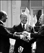 Sadat, President Carter, Begin shake on the 1979 peace treaty