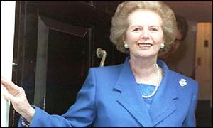 Margaret Thatcher leaves 10 Downing Street