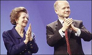 Baroness Thatcher with  Conservative Party leader William Hague