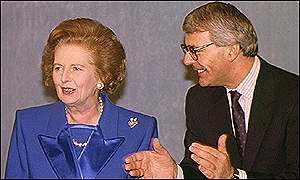 PM John Major and Margaret Thatcher