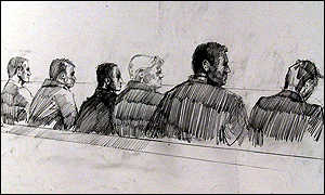 An artist's impression of the six accused in court