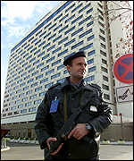 Policeman outside Zagreb hotel where the summit is being held