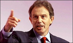 Tony Blair in upbeat mood