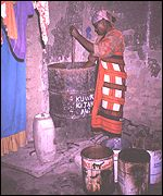 Woman brewing grain beer