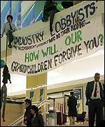 Banner: Industry lobbyists and the government officials who do their bidding... How will our grandchildren forgive you?