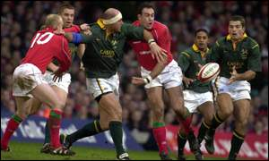 Mark Andrews gets the ball to van der Westhuizen