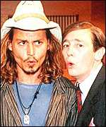 Johnny Depp and paul Whitehouse on the Fast Show