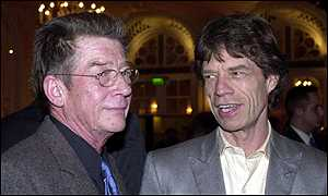 Actor John Hurt (left) and  Rolling Stone Mick Jagger