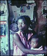 A Haitian woman and child