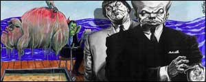 Works by nominees Martin Rowson, left, and Dave Brown,
