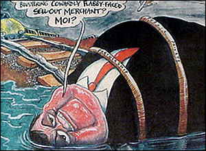 John Prescott skewered by Rowson in the Guardian